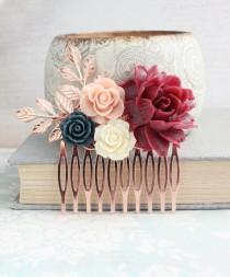 wedding photo - Floral Hair Comb Rose Gold Leaves Branches Marsala Red Wine Rose Bridal Hair Piece Flowers Bridesmaids Gift Navy Blue and Pale Blush Pink