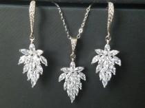 wedding photo - Crystal Leaf Jewelry Set, Wedding Cluster Leaf Silver Set, Bridal Earrings&Necklace Jewelry Set, Bridesmaids Jewelry, Floral Bridal Jewelry