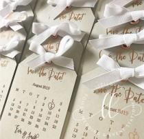 wedding photo - Save the date calendar tag grey with gold foil silver gold rose gold