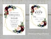 wedding photo - Elegant Floral Geometric Frame Fall Wedding Invitation,Burgundy,Blush,Navy,Roses,Gold Print,Shimmery,Printed Invitation,Wedding Set,Custom