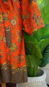 wedding photo - Long orange silk Kimono Robe, mothers day, Dressing gown, Vintage kimono, Bridesmaid robes, Boho, Bridal Robe, gifts for her, Kimono Dragon