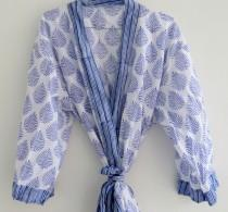 wedding photo - Cotton Kimono, Women Wear Body Crossover, Bridesmaid Dressing Gown, Hand Patch Work Block Print Cotton Bathrobe, Indian Robes, Dressing Gown