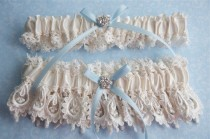 wedding photo - Ivory bridal blue wedding garter set,  Wedding garter set,  Garters