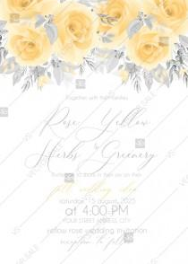 wedding photo - Pink rose wedding invitation yellow PDF5x7 in invitation editor
