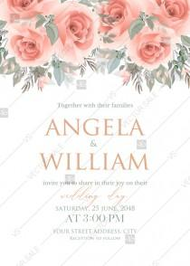 wedding photo -  Pink rose wedding invitation terracotta PDF5x7 in invitation maker