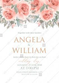 wedding photo - Pink rose wedding invitation terracotta PDF5x7 in invitation maker