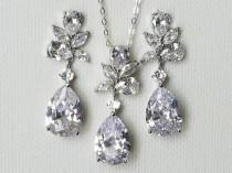 wedding photo - Crystal Bridal Jewelry Set, Wedding Teardrop Earrings&Necklace Set, Bridal Cubic Zirconia Jewelry, Chandelier Earrings, Crystal CZ Pendant