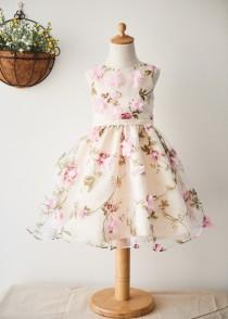 wedding photo - Printed Chiffon Knee Length Wedding Flower Girl Dress