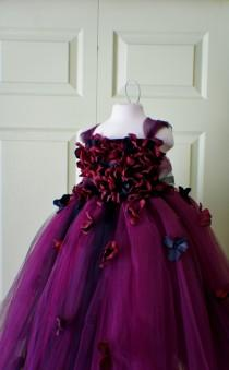 wedding photo - Flower girl dress Marsala Red Dress, Wine red tutu dress, flower top, hydrangea top, toddler tutu dress Cascading flowers