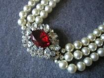 wedding photo - Vintage 1950s Cream Pearl And Ruby Choker