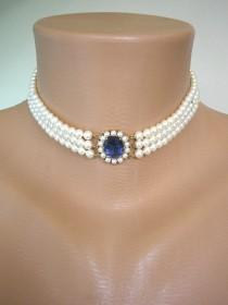wedding photo - Vintage Lotus Royale Pearl Choker