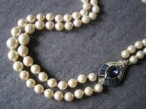 wedding photo - Montana Sapphire Rhinestone And Pearl Necklace