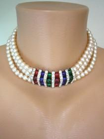 wedding photo - Vintage 1980s 3 Strand Pearl Necklace And Earrings Set