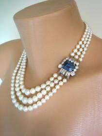 wedding photo - Vintage Ivory White Pearl and Montana Sapphire Necklace