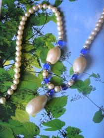wedding photo - Vintage Baroque Pearl And Bristol Blue Glass Necklace