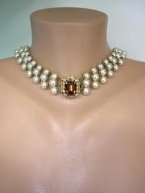 wedding photo - Long Champagne Pearl Necklace With Topaz Rhinestone Clasp