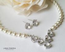 wedding photo - Bridal Jewelry Set, White Pearl Bridal Jewelry Set, Swarovski Pearl Wedding Set, Necklace&Earrings Jewelry Set, Pearl Crystal Bridal Set