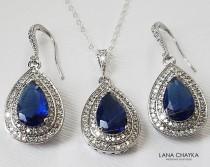 wedding photo - Blue Crystal Jewelry Set, Navy Blue Halo Jewelry Set, Wedding Jewelry, Bridal Navy Blue Jewelry, Dark Blue Earring&Necklace Set Prom Jewelry