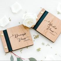 """wedding photo - Vow Books Wooden Wedding Vow Booklet Personalized Vow Book Set His and Her Vow Books Vow Renewal - Single book, or 2 Book Set - 4.5"""" x 5.5"""""""