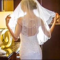 wedding photo - White /Ivory Bridal Veil Elbow length  beaded veil, simple bridal veil, short veil with sequin beaded edge