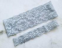 wedding photo - Wedding Garters, Plain Elastic Stretch Lace Garter Set, Ivory, White, Teal, Blush, Dusty Blue, Light Blue, Navy Blue, Black Bridal Garters