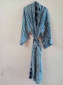 wedding photo - Women's BLUE Indigo Kimono, Patchwork Cotton Kimono, Bath Robe,Cover up ,Beach Wear Dress