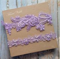 wedding photo - Garter,Wedding garter set, Lavender Garter, Rhinestone Lavender Garter, Bridal garters lavender,bridal garter,Floral lace garter,Garter Set