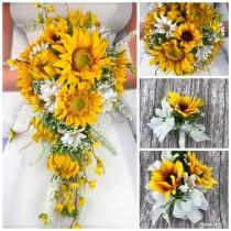wedding photo - Artificial Sunflower and Daisy Bridal Bouquets, Sunflower Bridal Flowers, Daisy Sunflower Wedding Flowers