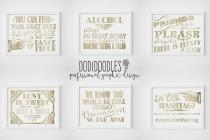 wedding photo - Wedding Signs, gold wedding signs, Dance Floor Sign, Hashtag Sign, Treat Sign, Alcohol Sign, Seating Sign