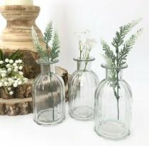 wedding photo - Set of 3 Vintage Style Clear Ribbed Glass Bottles Small Bud Vase Wedding Table Centrepiece Venue Decoration Mother's Day Newly Weds Gift