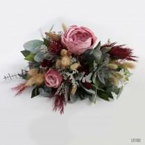 wedding photo - Gothic Bohemian Bridal Bouquet, Rustic Wildflower Boho Dried Wedding Flowers, Burgundy and Pink with Succulents and Grass
