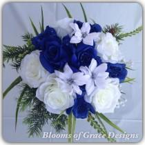wedding photo - Royal blue round bouquet roses blue and white. Wedding bouquet.