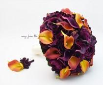 wedding photo - Plum Roses Burnt Orange Calla Lilies Bridal or Bridesmaid Bouquet - add a Groom's or Groomsman Boutonniere - Choose Your Ribbon Color