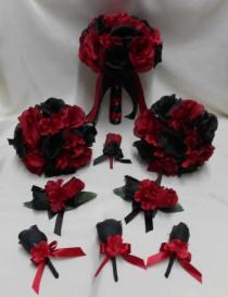 wedding photo - Wedding  Silk Flower Bridal Bouquets Your Colors 18 pcs Package  Apple Red Black Roses  Toss Bridesmaids  Boutonniere Corsages FREE SHIPPING
