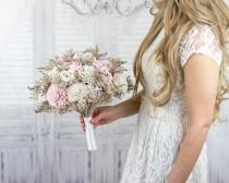 "wedding photo - Wedding Bouquets ""Blushed Pink"" - Bridal Bridesmaids Toss Flower Girl Bouquets - Solawood Flowers - Wedding Bouquets - Dried Bouquets"
