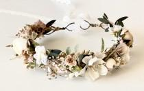 wedding photo - Dried Flower Crown, Flower Crows,  Wedding, Flower Girl, Mommy and Me Flower Crowns, Floral Crown- Boho Flower Crown