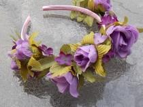 wedding photo - Light Purple Fairy Queen Rose Crown with Lavender and Purple Color Flowers on Mauve Headband A04