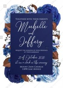 wedding photo -  Wedding invitation set navy blue peony anemone PDF 5x7 in customize online