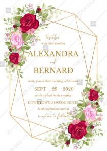 wedding photo - Wedding invitation set red pink rose greenery wreath card template PDF 5x7 in wedding invitation maker