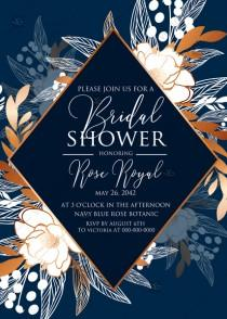 wedding photo - Peony foil gold navy classic blue background bridal shower wedding Invitation set PDF 5x7 in wedding invitation maker
