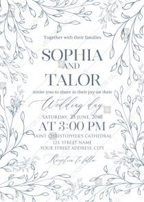 wedding photo -  Laurel wreath herbal letterpress design wedding invitation set PDF 5x7 in invitation maker