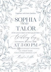 wedding photo - Laurel wreath herbal letterpress design wedding invitation set PDF 5x7 in invitation maker