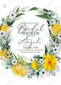 wedding photo - Mimosa yellow greenery herbs wedding invitation set bridal shower PDF 5x7 in edit online