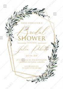 wedding photo - Minimalist olive branch greenery Wedding Invitation set bridal shower PDF 5x7 in invitation editor