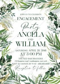 wedding photo - Provence bohemian greenery and field herbs wedding engagement party invitation set PDF 5x7 in edit template