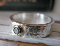 wedding photo - SALE Size 8 GENUINE Green Diamond Ring Handmade Silver Ring Brilliant Cut Diamond Alternative Engagement Ring Unique Promise Commitment Ring