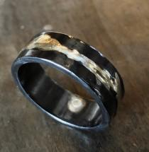 wedding photo - 14K Yellow Gold Sterling Silver Mixed Metal Ring Custom Wedding Band 8mm Hammered Mens Ring Oxidized Silver Viking Wedding Ring