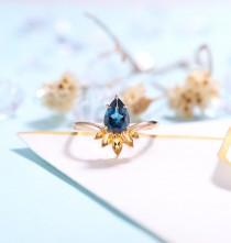 wedding photo - Vintage London Blue Topaz Engagement Ring Rose gold Women