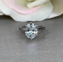 wedding photo - Oval Cut Solitaire Engagement Wedding Anniversary Ring 4.00 ct. Solid 14k White Gold 6 Prong Setting #5266