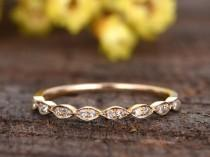 wedding photo - solid 14k yellow gold bridal promise ring,Marquise diamond wedding band,half eternity band,anniversary ring,Deco stacking matching band